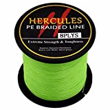HERCULES 300m 328yds Fluorescent Green 10lbs-300lbs Pe Braid Fishing Line 8 Strands (20lb/9.1kg 0.20mm)