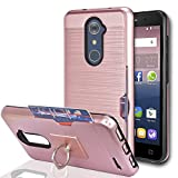 zte imperial 2 cases - ZTE Imperial Max Z963U/ZMAX Pro Z981/Kirk Z988/Grand X Max 2/Max Duo LTE Case With Phone Stand,Ymhxcy [Credit Card Slots Holder] Dual Full-Body Shockproof Protective Cover Shell For Z981-LCK Rose Gold