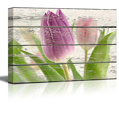 Purple Tulip Flower Artwork Rustic