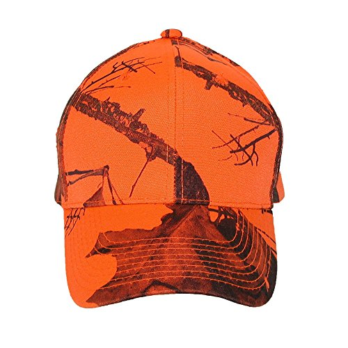 CTM Men's Mossy Oak Break Up Blaze Orange Baseball Hat, Break Up Blaze Orange Blaze Orange Camo Cap