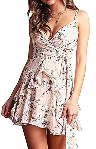 DREAGAL Womens Shirred Back Floral Ruffle Dresses Tie Waist Sundress Light Pink S -