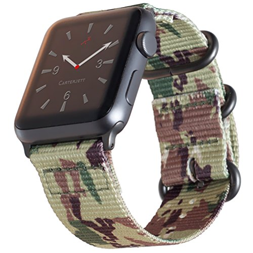 Carterjett Compatible Apple Watch Band 42mm 44mm Camouflage Woven Nylon iWatch Band Replacement Strap Canvas Military Gray NATO Loop Buckle Compatible Apple Watch Series 4 3 2 1 (42 44 S/M/L Camo)