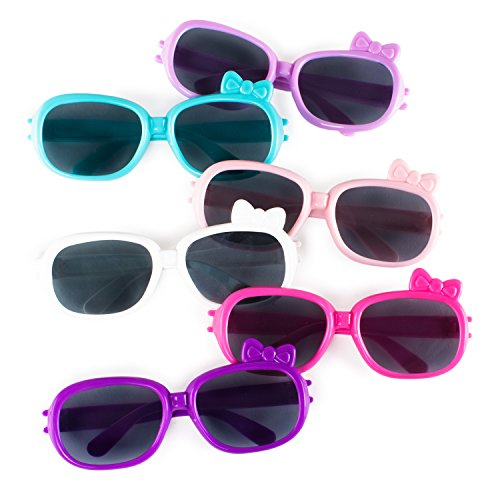 Plastic Color Assorted Round Style Girl Bow Children Sunglasses Shades Eye Wear for Party Prop Favors, Decorations, Toy Gifts (12 - Sunglasses Pack Novelty