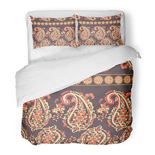 SanChic Duvet Cover Set Batik Paisley Floral Oriental Ethnic Pattern Ornamental Indian Carpet Chinese Decorative Bedding Set 2 Pillow Shams King Size by SanChic