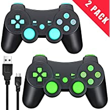 TPFOON PS3 Wireless Controller with Charging Cable, 2pcs Pack Bluetooth Double Vibration Sixaxis Gamepad Joystick for Sony DualShock 3 PlayStation 3 PS3 (1 Charge&Play Cord Included)