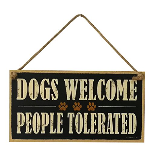 VORCOOL DOGS WELCOME PEOPLE TOLERATED Wood Sign Farm Decorative Plaque Hanging Board (Hanging People)