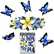 FLOWER Plumeria BUTTERFLY Car Decal - Blue/White Frangipani Center ANIMAL Small Vinyl Sticker Pack For Walls L