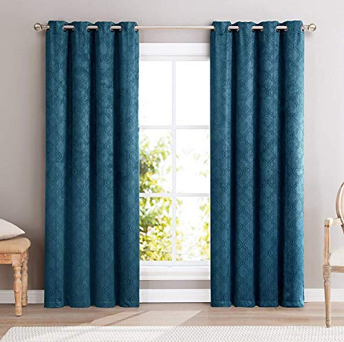 HLC.ME Redmont Lattice Thermal Insulated Energy Efficient Room Darkening Privacy Blackout Grommet Curtain Panels for Bedroom - Light Blocking - Set of 2-54