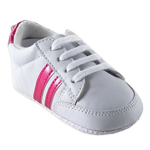 Luvable Friends Basic Stripe Casual Sneaker (Infant), Pink, 12-18 Months M US Infant