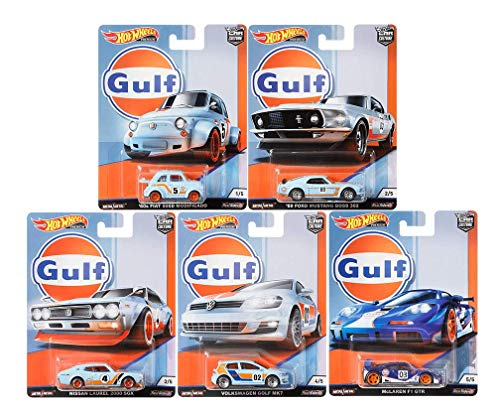 (Hot Wheels 2019 Car Culture Gulf Racing Series Set of 5, 1/64 Scale Diecast Cars)