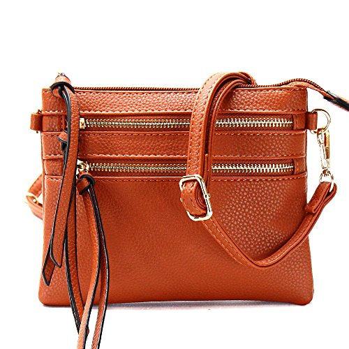 Bag Pocket Double Crossbody Zippers Front Brown wzZZ0q4B
