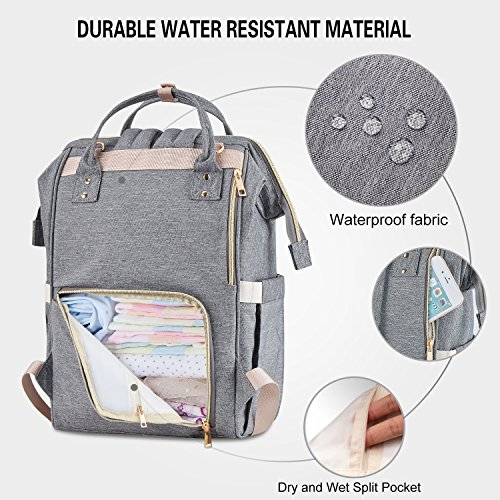 Athelain Diaper Bag,Multi-Function Waterproof Travel Backpack Nappy Bags for Baby Care, Large Capacity, Stylish and Durable (Gray) by Athelain (Image #1)