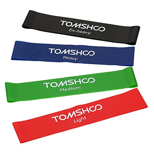 TOMSHOO Resistance Bands Loop Exercise Bands - Set of 4 - for Fitness Gym Strength Training Physical Therapy