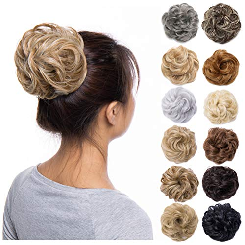 (Scrunchy Updo Hair Bun Clip Messy Donut Chignons Synthetic Wavy Straight Hairpiece Hair Extension (light ash brown & bleach blonde-thicker, 2PCS))