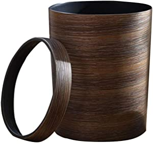 DBZG Retro Wood Grain Trash Can Household Creative Living Room Kitchen Toilet Paper Basket Plastic with Pressure Ring Office Minimalist Bedroom Waste Basket Indoor Waste Storage Device