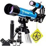Portable Telescope for Kids-40mm Aperture 400mm AZ Mount Astronomical Refractor Travel Scope with Erecting Eyepiece and Finder Scope-Come with Table-top Tripod to Observing Moon and Scenery