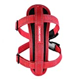 EzyDog Premium Chest Plate Custom Fit Reflective No-Pull Padded Comfort Dog Harness - Perfect for Training, Walking, and Control - Includes Car Restraint Attachment (Medium, Red)
