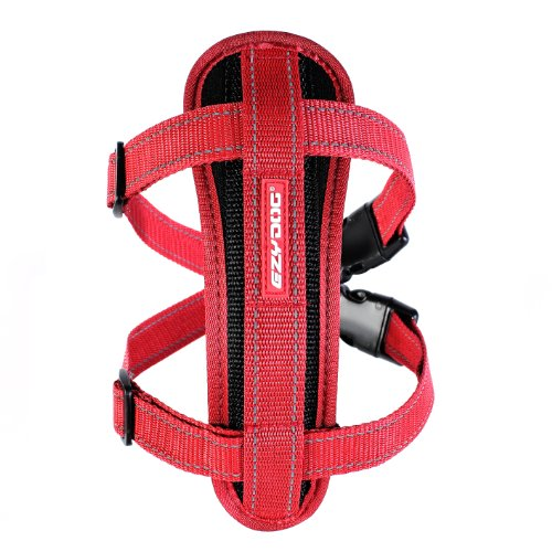 EzyDog Premium Chest Plate Custom Fit Reflective No-Pull Padded Comfort Dog Harness - Perfect for Training, Walking, and Control - Includes Car Restraint Attachment (Large, Red)