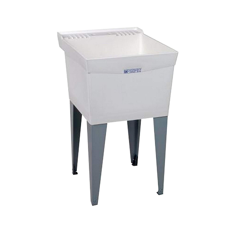 24-Inch x 20-Inch White Mustee 19F Utilatub Laundry Tub Floor Mount