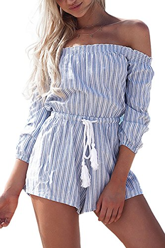 Simplee Apparel Women's Summer Casual Off Shoulder Long Sleeve Strip Playsuit Short Jumpsuit Romper, Blue, 1/11, X-Large