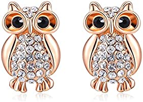 joyliveCY Women Charm Jewerly Rose Gold Plated Stud Special Cute Owl Earrings