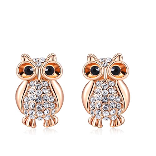 - joyliveCY Women Charm Jewerly Rose Gold Plated Stud Special Cute Owl Earrings