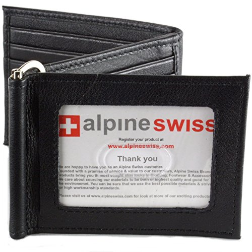 Alpine Swiss Men's RFID Blocking Z Shape Wallet Trifold Bifold Spring Money (Spring Loaded Money Clips)