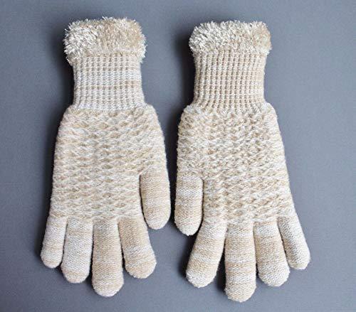 - Beige Cream lined gloves faux fur knit stretch gloves winter super warm ladies R-5244