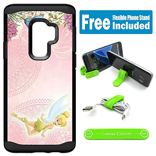 for Galaxy S9 Hybrid Rugged Hard Cover Case - Tinkerbell Pink Horiz