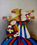 100% Hand Painted J Roybal Kids Abstract Canvas Oil Painting for Home Wall Art by Well Known Artist, Framed, Ready to Hang