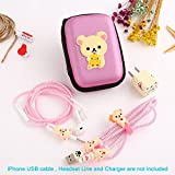 Ship by USPS, ZOEAST(TM) DIY Protectors Apple Lightning Data Cable USB Charger Data Line Earphone Wire Saver Protector for iPhone 5 5S SE 6 6S 7 8 Plus X IPad iPod iWatch (Upgrade Styles, Beige Bear)