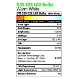 Ustellar 6 Pack 5W G25 E26 LED Bulbs, 40W Incandescent Bulb Equivalent, 450lm Vanity Light Bulbs, 270 Beam Angle, Globe Light Bulbs, Makeup LED Light Bulbs, Non-Dimmable, 2700K Warm White