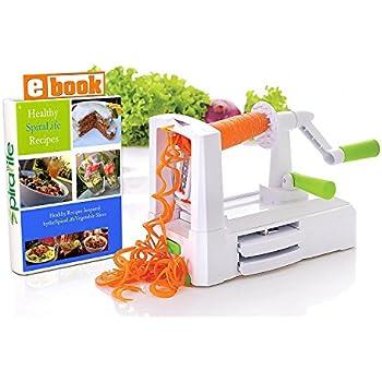 Spiralizer Vegetable Slicer – Zucchini Spaghetti Maker w/ Heavy Duty Suction Cup Mount & 30-Spike Ergonomic Crank Handle – BONUS Vegetable Spiralizer Cookbook Ebook – Perfect for Low Carb & Paleo Diet