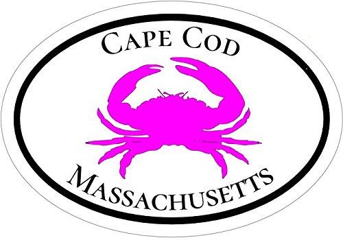 WickedGoodz Oval Pink Crab Cape Cod Vinyl Decal - Beach Bumper Sticker - Perfect Mass Vacation Gift