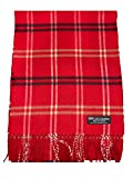 2 PLY 100% Cashmere Scarf Elegant Collection Made in Scotland Wool Solid Plaid Men Women (Red Camel Black)