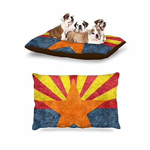 KESS InHouse Bruce Stanfield ''Arizona State Flag Retro Style'' Orange Blue Dog Bed, 30'' x 40'' by Kess InHouse