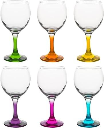 Pasabahce - Juego de 6 vasos de balón con pie, 6 colores, 25 cl ...
