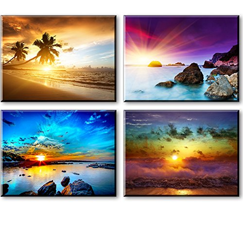 Beach Theme Decor for Bedroom, PIY HD Beautiful Sunset Sea...