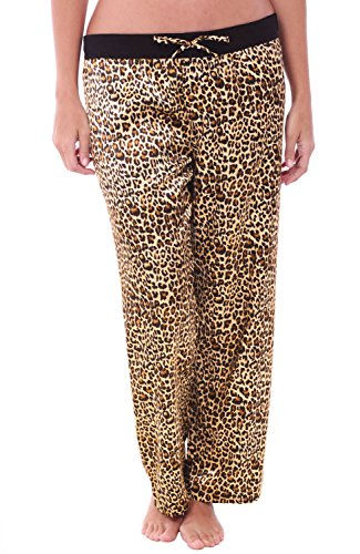 Alexander Del Rossa Womens Satin Pajama Pants, Silky Pj Bottoms, XS Tan Leopard (A0751P04XS) ()