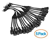 """ClearMax 3 Prong 1-to-4 Power Cord Splitter Cable - Power Extension Cord - Cable Strip Outlet Saver - 16AWG - UL Approved - 18"""" Inches (5 Pack 