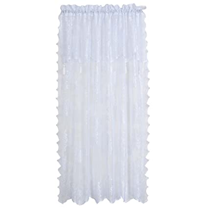 Style Master Renaissance Carley Lace 56-Inch by 63-Inch Panel with 17-Inch Attached Valance, White