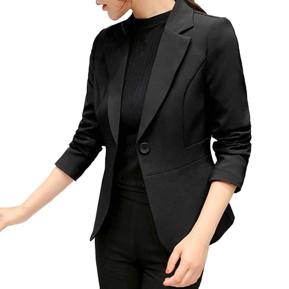 ❤️Manteau Veste Femme Blouson Amlaiworld Femmes Chic Blazer Solide Manche Longue Costume Cardigan de Travail de Bureau Bouton Mince Manteau Court Veste