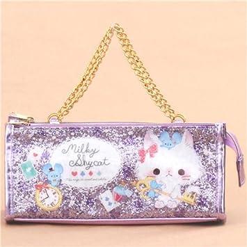 Bolso kawaii estuche lápices brillante purpurina violeta gato ratón de Japón: Amazon.es: Juguetes y juegos