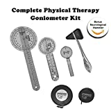 Goniometer Complete Set W/ Bonus Reflex Hammer Including 12 ,8 ,6 Inches Goni's Plus TWO Bonus Measuring Tapes. Phyisical Therapy and Occupational Therapy Tools. Ideal For Clinical or Home Rehab