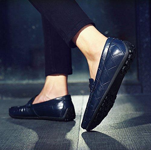Loafers Blu Mocassini Scarpe Casuale Scivolare Uomo Piatto Scarpe Elegante Dooxi CHxq0Owzw