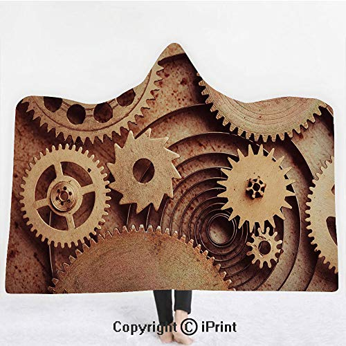 "Industrial Decor 3D Print Soft Hooded Blanket Boys Girls Premium Throw Blanket,Inside The Clocks Theme Gears Mechanical Copper Device Steampunk Style Print,Lightweight Microfiber(Kids 50""x60"")Cinnamon"