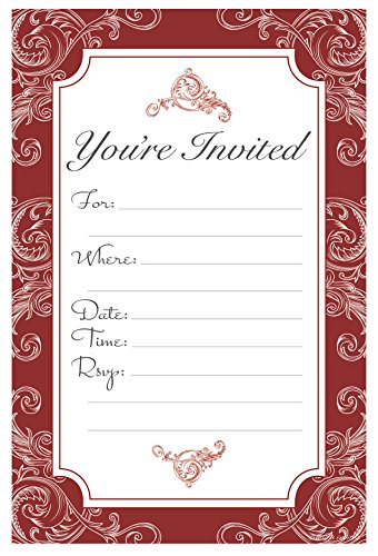 Elegant Red Fill In Invitations - Wedding, Bridal Shower, Baby Shower, Engagement Party, Birthday - (20 Count) With Envelopes
