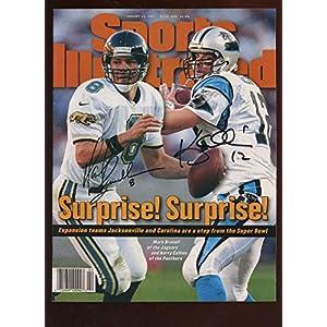 1 13 1997 Sports Illustrated No Mailing Label Brunell & Collins Autographed JSA Autographed NFL Magazines