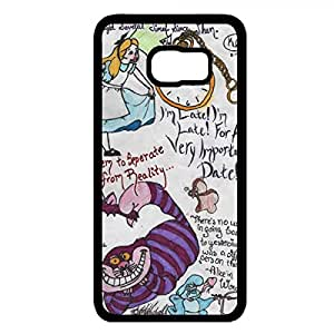 Lovely Quotation Alice In Wonderland Phone Case Hard Plastic Case Cover For Samsung Galaxy S6 Edge Plus,Alice in Wonderland Durable Cellphone Case(Black)