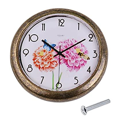 Miss and Mams Set of Clock Flower Background Drawer Door Cabinet Bin Knob with Mounting Screw Antique Brass